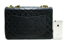 "CHANEL Jumbo 13"" Maxi 2.55 Flap Chain Shoulder Bag Black Lambskin R14"