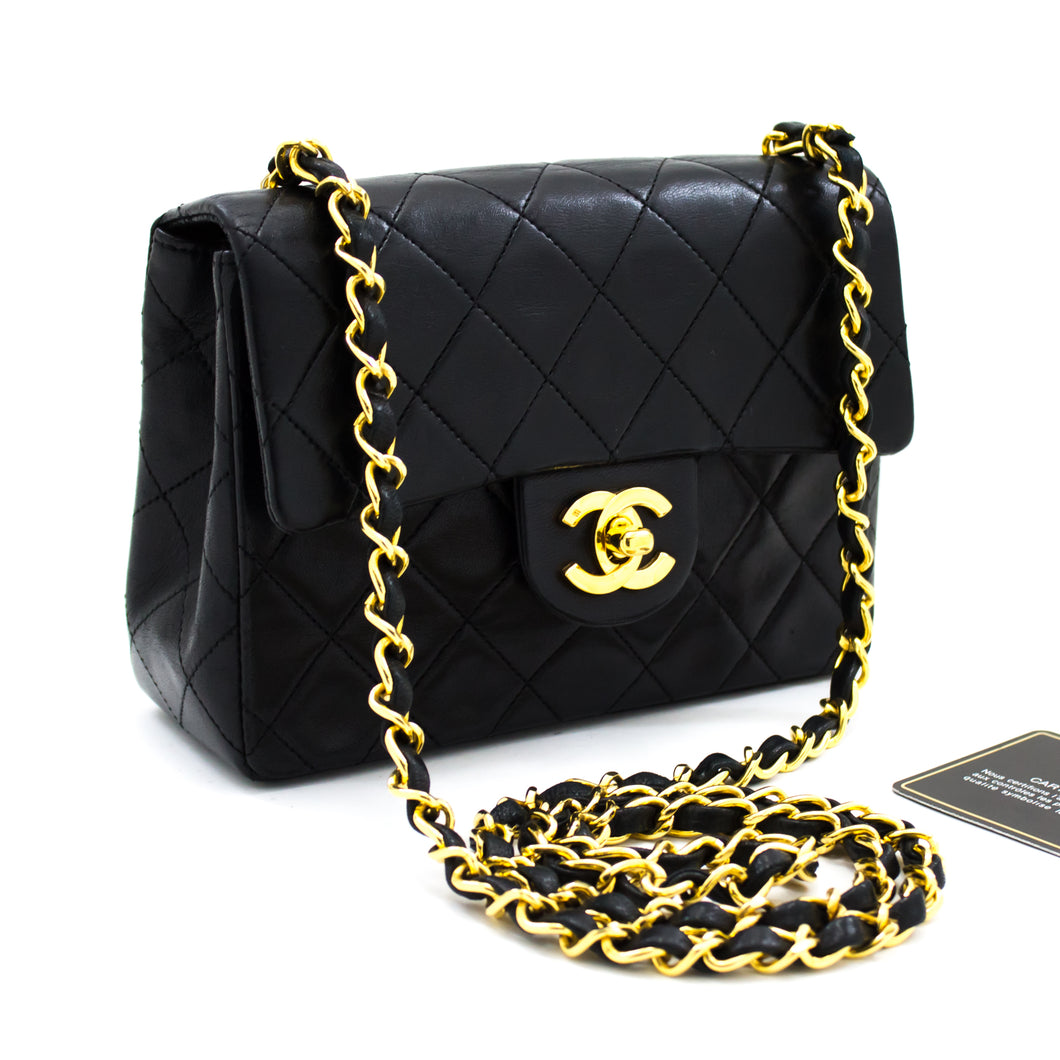 CHANEL Mini Square Small Chain Shoulder Bag Crossbody Black u62 hannari-shop