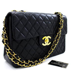 "CHANEL Jumbo 13"" Maxi 2.55 Flap Chain Shoulder Bag Black Lambskin t16"