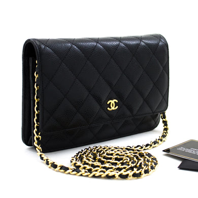 CHANEL Kaviar Portemonnaie Op Kette WOC Black Shoulder Bag Crossbody t79-hannari-shop