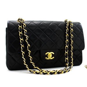 "CHANEL 2.55 Double Flap 10"" Chain Shoulder Bag Black Lambskin y41 hannari-shop"