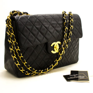 "CHANEL Jumbo 13"" Maxi 2.55 Flap Chain Shoulder Bag XL Black Lamb Q55-Chanel-hannari-shop"