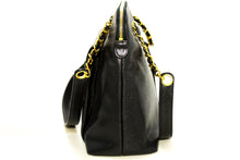 CHANEL Caviar Large Chain Shoulder Bag Black Leather Gold Zipper R04-Chanel-hannari-shop