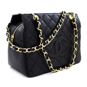 CHANEL Caviar Chain Shoulder Bag Shopping Tote Black Quilted Purse t81-hannari-shop