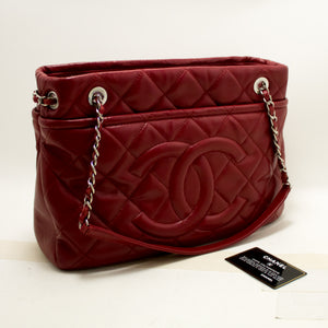 CHANEL Red Caviar Chain Shoulder Bag Large Quilted Leather Silver p98-Chanel-hannari-shop