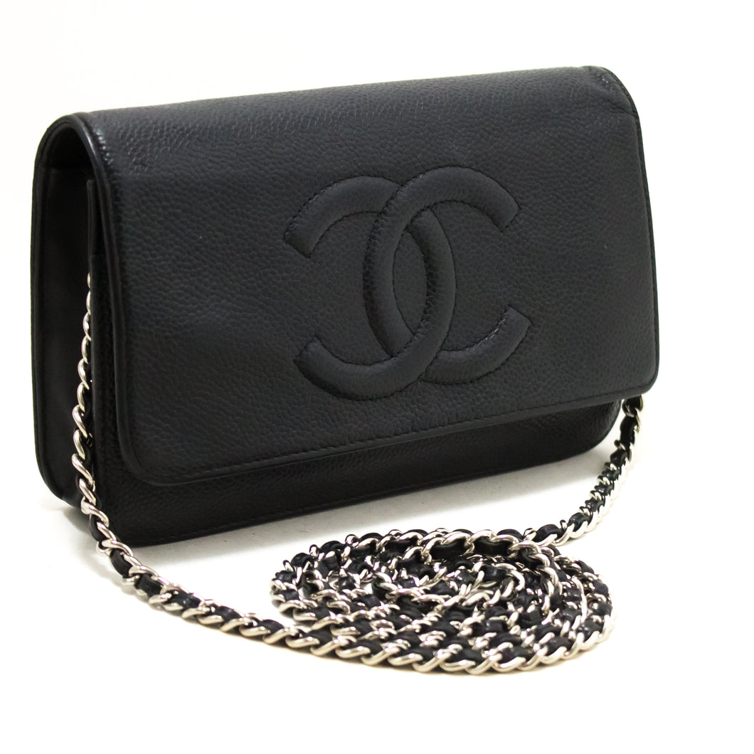 CHANEL Caviar Wallet On Chain WOC Black Shoulder Bag Crossbody R22-Chanel-hannari-shop