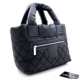 CHANEL Coco Cocoon Nylon Tote Bag Handbag Black Бордо чарм u52 hannari-мағозаи