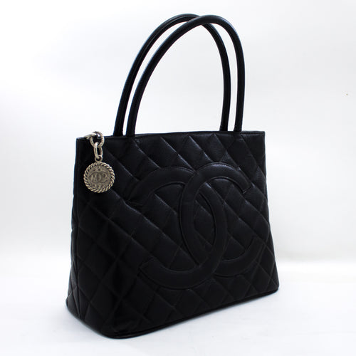 CHANEL Silver Medallion Caviar Shoulder Bag Shopping Tote Black u16-hannari-shop