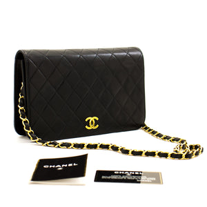 CHANEL Chain Shoulder Bag Clutch Black Quilted Flap Lambskin Purse z99 hannari-shop