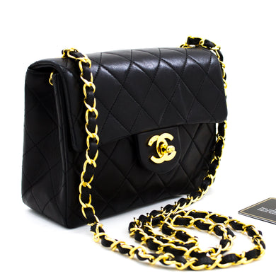 Quadratum Parvus CHANEL Mini Button Crossbody Nigrum Purse humerum vinculum-x78 hannari tabernam