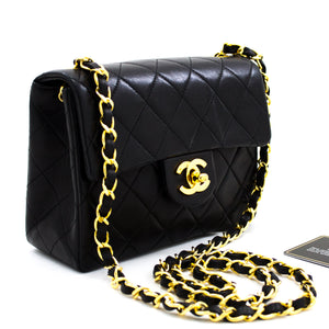 CHANEL Mini Square Small Chain Bag Spalla Crossbody Black Purse x78 hannari-shop