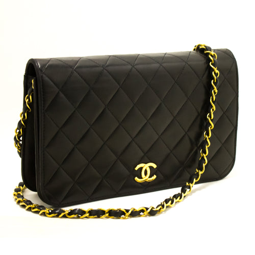 CHANEL Chain Shoulder Bag Clutch Black Quilted Flap Lambskin R42-Chanel-hannari-shop