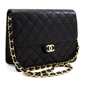 CHANEL Small Chain Shoulder Bag Clutch Black Quilted Flap Lambskin u68 hannari-shop