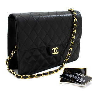 CHANEL Chain Shoulder Bag Clutch Black Quilted Flap Lambskin Purse t18