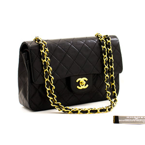 "CHANEL 2.55 Double Flap 9"" Chain Shoulder Bag Black Lambskin Purse z97 hannari-shop"