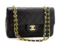 "CHANEL 2.55 Double Flap 9 ""Chain Shoulder Bag Black Lambskin Purse z97 hannari-shop"
