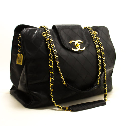 CHANEL Super Model Jumbo Large Chain Shoulder Bag Black Calfskin p92