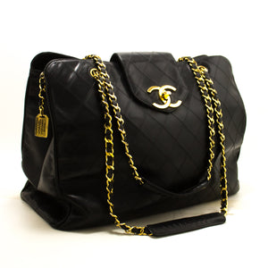 CHANEL Super Model Jumbo Large Chain Shoulder Bag Black Calfskin p92-Chanel-hannari-shop
