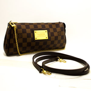 Louis Vuitton Eva Ebene Damier καμβά τσάντα ώμου τσάντα χρυσό R38-uis Vuitton-hannari-shop