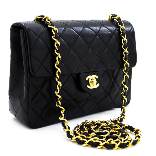 CHANEL Mini Square Small Chain Shoulder Bag Crossbody Black Purse x81 hannari-shop