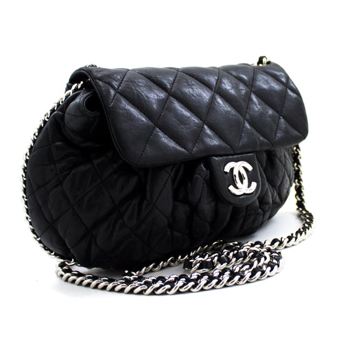 CHANEL Chain Around Shoulder Bag Crossbody Black Calfskin Leather u50 hannari-shop