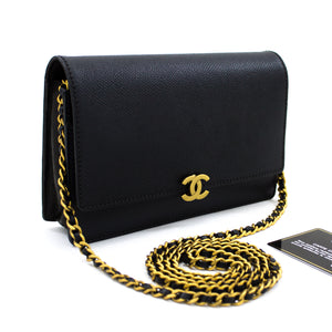 CHANEL Caviar Wallet On Chain WOC Black Shoulder Bag Crossbody t20