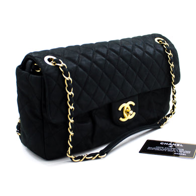 CHANEL Calfskin Sparkle Skin Chain Shoulder Bag Black Quilted u11-hannari-shop