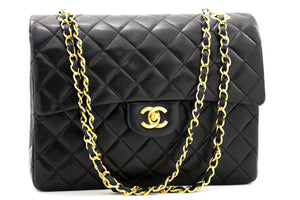 CHANEL 2.55 Double Flap Small Chain Shoulder Bag Black Quilted p96-Chanel-hannari-shop