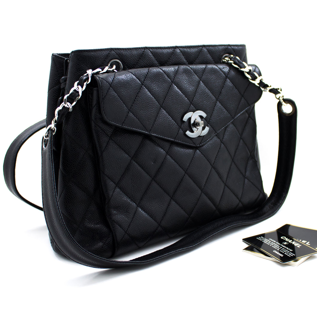CHANEL Caviar Quilted Chain Shoulder Bag Black Leather Silver u48 hannari-shop