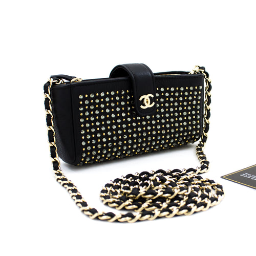 CHANEL Studs Rhinestone Mini Chain Shoulder Bag Black Crossbody t26
