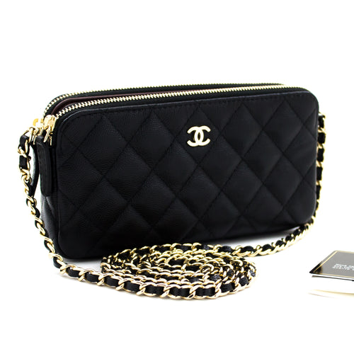 CHANEL Caviar Wallet on Chain WOC Double Zip ሰንሰለት ትከሻ ቦርሳ u10-hannari-shop