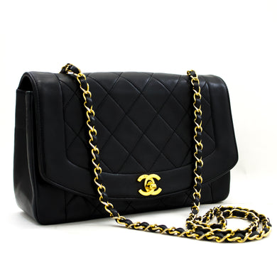 CHANEL Diana Flap Chain Shoulder Bag Black Quilted Lambskin Purse y53 hannari-دڪان