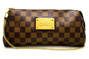 Louis Vuitton Eva Ebene Damier Canvas Shoulder Bag Handbag Gold R39-Louis Vuitton-hannari-shop