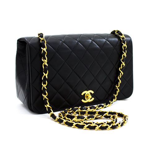 CHANEL Chain Shoulder Bag Crossbody Black Quilted Flap Lambskin x59 hannari-shop