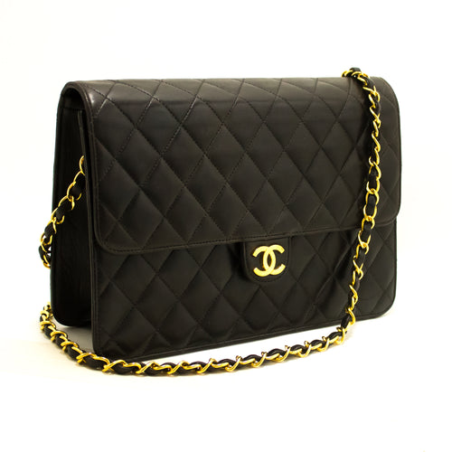 CHANEL Chain Shoulder Bag Clutch Black Quilted Flap Lambskin Q21