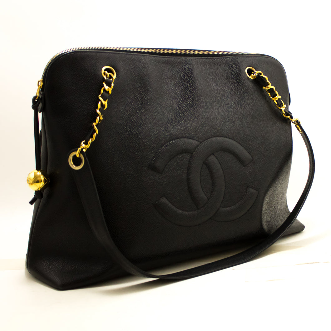 CHANEL Caviar Jumbo Large Chain Shoulder Bag Black Gold Zip CC Q82-hanel-hannari-shop