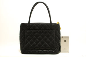 CHANEL Gold Medallion Caviar Shoulder Bag Shopping Tote Black p26