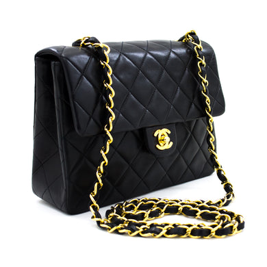 CHANEL Mini Square Small Chain Shoulder Bag Crossbody Black Lamb u49 hannari-shop