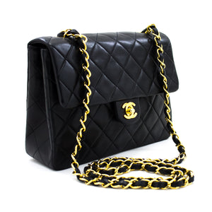 CHANEL Mini Square schoudertas met kleine ketting Crossbody Black Lamb u49 hannari-shop