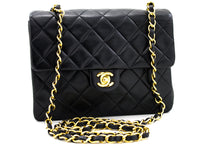 CHANEL Mini Square Liten kjede skulderveske Crossbody Black Lamb u49 hannari-shop