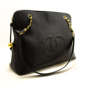 CHANEL Caviar Jumbo Large Chain Shoulder Bag Black Gold Zip CC Q76