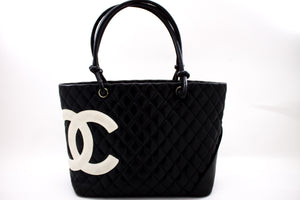 CHANEL Cambon Tote Large Shoulder Bag Black White Quilted Calfskin u07-hannari-shop
