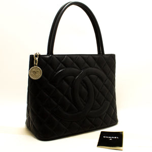 CHANEL Caviar Silver Medallion Shoulder Bag Black Leather Tote n73