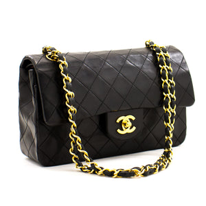 "CHANEL 2.55 Double Flap 9"" Chain Shoulder Bag Black Lambskin Purse z91 hannari-shop"