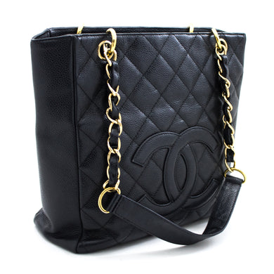CHANEL Caviar PST Chain Shoulder Bag Shopping Tote Black Quilted u47 hannari-shop