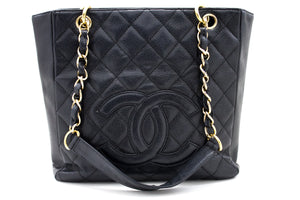 CHANEL Caviar PST ჯაჭვის მხრის ჩანთა Shopping Tote Black Quilted u47 hannari-shop