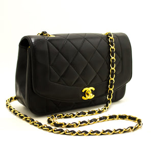 CHANEL Diana Flap Chain Shoulder Bag Crossbody Black Quilted Lamb Q13