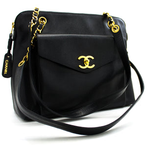 CHANEL Caviar Large Chain Shoulder Bag Black Leather Gold Hw x44 hannari-shop