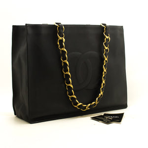 CHANEL Jumbo Large Big Chain Shoulder Bag Black Lambskin Leather p32
