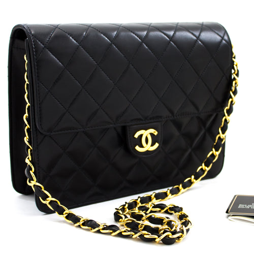 CHANEL Small Chain Shoulder Bag Clutch Black Quilted Flap Lambskin x82 hannari-shop